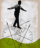 Businessman balancing on compass wheels, illustration