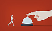 Robot responding to hand ringing service bell, illustration