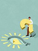 Man completing light bulb puzzle, illustration