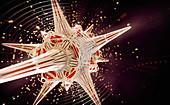 Spheres bursting from geometric shape, illustration