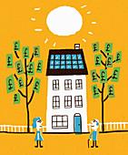 Money from solar panels, illustration