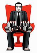 Businessman with employees sitting on lap, illustration