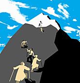 People climbing mountain, illustration