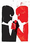 Rivals arm wrestling, illustration