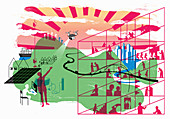 Futuristic sustainable city, illustration