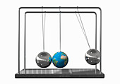 Globe as ball on Newton's Cradle, illustration