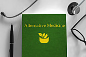 Medical book about alternative medicine, illustration