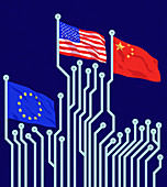 Flags on circuit board poles, illustration