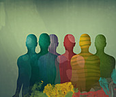 Male silhouettes, illustration