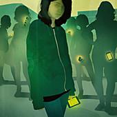 Teenage girls with smart phones, illustration
