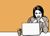Woman using laptop, illustration