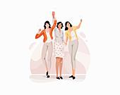 Happy women, illustration