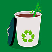 Recyclable cup and straw, illustration