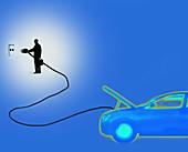 Charging electric car, illustration