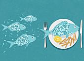 Plastic in the foodchain, conceptual illustration