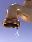 Water dripping from tap, illustration