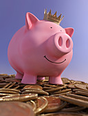 Happy piggy bank, illustration