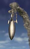 Rocket in flight, illustration
