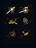 Asteroid deflection methods, illustration