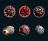 Bombardment history of the Moon, illustration