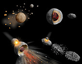 Asteroid formation and composition, illustration