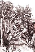 Jesus and the flight to Egypt, 15th century illustration