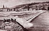 Tidal bore on the River Seine, 19th century