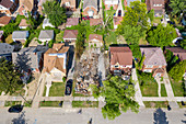 House destroyed by gas explosion, Detroit, USA
