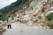 Road construction, China