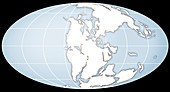 Continents during the Triassic, illustration