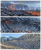 Lava flow types, illustration