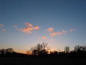 Cumulus fractus clouds at sunset