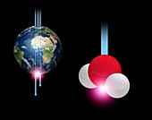 Earth and neutrino detection event, illustration