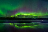 Northern lights reflected in a lake