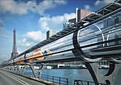 Hyperloop transport, illustration