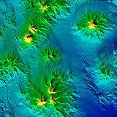 Volcanoes in Chile and Bolivia, LiDAR satellite image