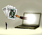 Online gambling, conceptual illustration