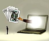 Online gambling, conceptual illustration