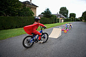 Young bike stunt performer