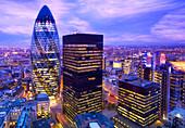 City of London, UK, at dusk