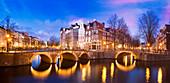 Keizersgracht Canal, Amsterdam, Netherlands, at dusk