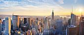 New York City, USA, at sunset