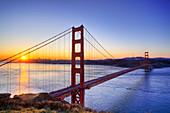 Golden Gate Bridge, San Francisco, USA, at dusk
