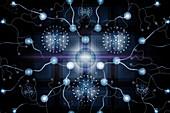 Neuromorphic computing, conceptual illustration
