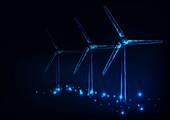 Wind turbines, conceptual illustration