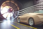 Car in wind tunnel, illustration