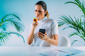Using spirometer and smart phone