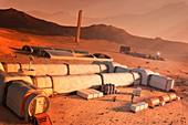 Manned base on Mars, illustration