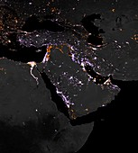 Lighting intensity in Middle East,2012-2016