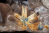 Rutile and hematite in quartz